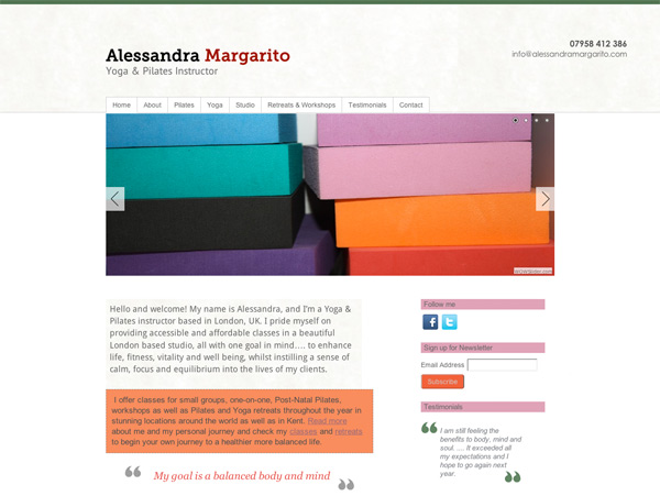 aless yoga website design