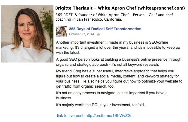 white apron chef testimonial
